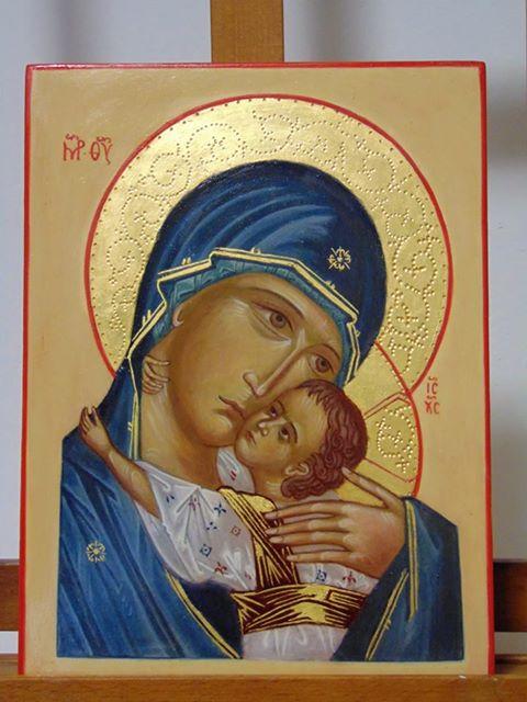 Madonna della Tenerezza icona su tavola di Tiglio