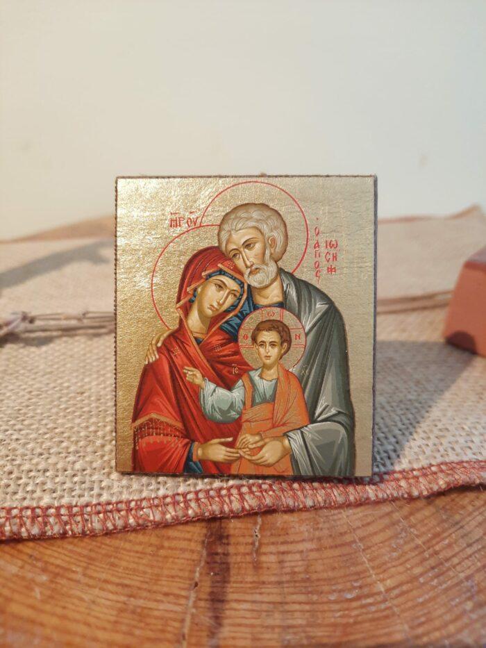 Icona Santa Famiglia con Base di Appoggio